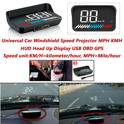 Pickup HUD Head Up Display USB OBD GPS Universal Car Windshield Speed Projector