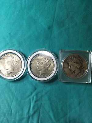 LOT of 3 coins 1922 1923-D 1924 PEACE SILVER DOLLARS