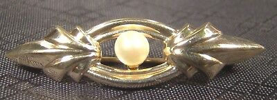 Genuine 14 K Solid Yellow Gold & Cultured Pearl Art Deco Nouveau Pin Brooch