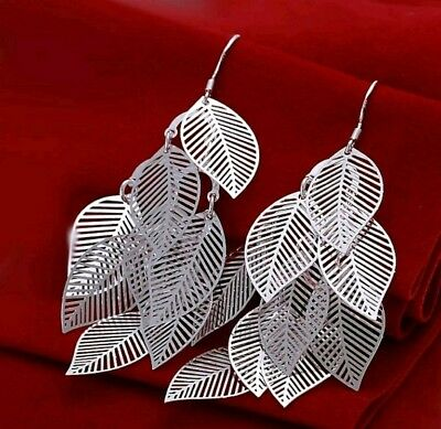 925 Sterling Silver Chandelier Leaves Bali Hoop Pierced Earrings
