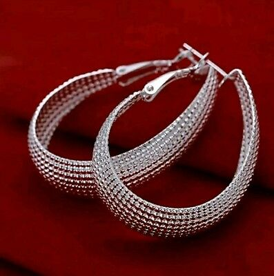 "925 Sterling Silver Hoop Pierced Earrings 2"" Inches"