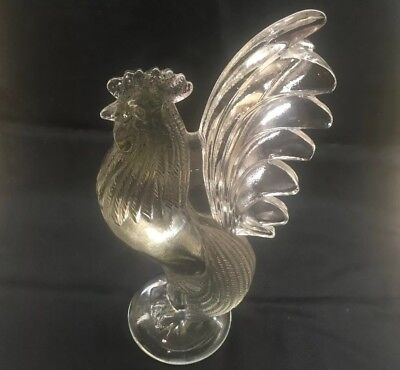 Vintage  Rare Large Clear Glass Fighting Cock Rooster Heavy