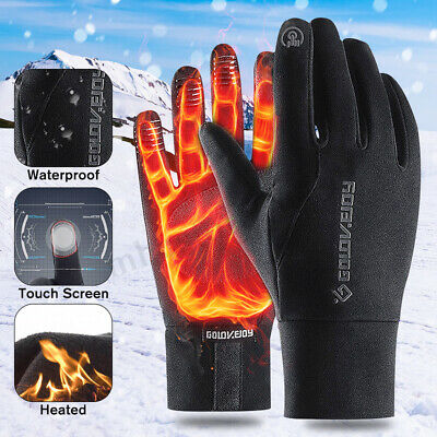 2Pcs Black Fleece Lined Motorcycle Gloves Waterproof Guantes Moto Touch Screen