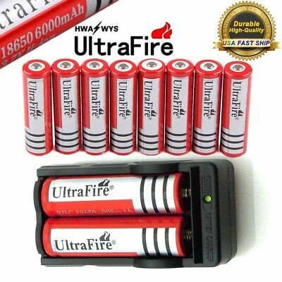 10* 18650 Battery 6000mAh Rechargeable Charger For Flashlight Headlamp Torch