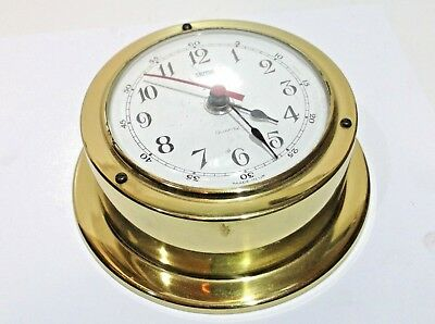 """Vintage c1980s 90s brass ships wall clock SMITHS Made in England """"Quartz"""""""