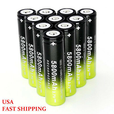 10Pcs Li-ion 18650 5800mAh 3.7V Rechargeable Battery Cell For Flashlight Torch
