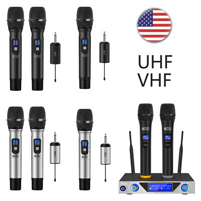 2CH VHF Wireless Microphone Handheld 25 Channel UHF with Rechargeable Receiver