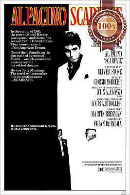 New Scarface Al Pacino 1983 Official Original Cinema Movie Print Premium Poster