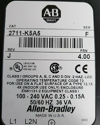 ALLEN BRADLEY PANELVIEW 550 2711-K5A5 (various rev) Fedex shipping