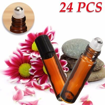 24pcs 10ml Amber Glass Bottle W/ Roll On For Essential Oils Aromatherapy 85x20mm