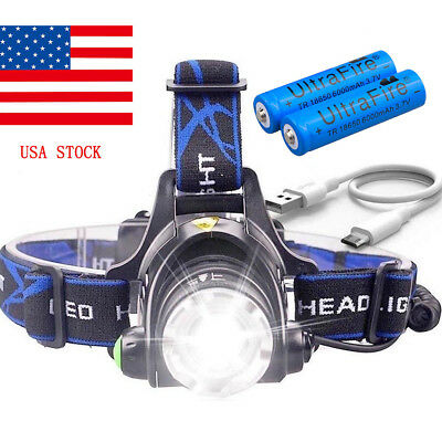 Headlight USB Cable Rechargeable 50000LM T6 LED Headlamp 6000mAh 18650 Battery