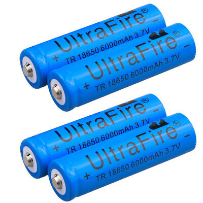 4pcs Ultrafire 6000mAh 18650 Battery Li-ion 3.7V Lithium Rechargeable Blue