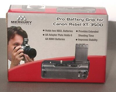 Pro Battery Grip for Canon Rebel XT/350D.  Takes six AA or two NB-2LH batteries.