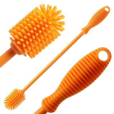 "Silicone Bottle Cleaning Brush with 12"" Long Handle - Flexible Ergonomic Design"