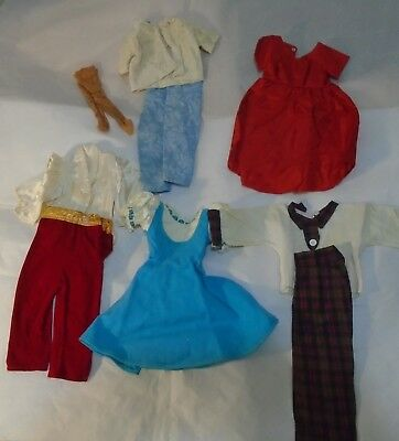 "9 Pc. Vintage 1950s Clothing Lot for 19"" Plastic multi jointed Dollikin Doll"