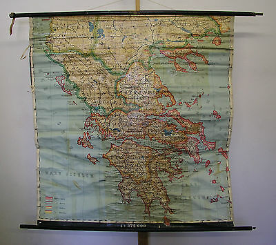 Schulwandkarte Beautiful Old Map Graecia Greeks Latin 143x148 ~ 1950 Vintage
