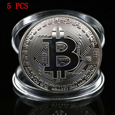 Silver Plated Art Physical Bitcoin Commemorative Round Collectors Souvenir