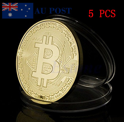 5 PCS Gold-plated Iron Bitcoin Collectible Medal Gifts Acrylic Case Novelty