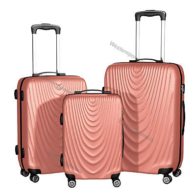 Wheels Rolling Luggage Set 3 piece 20'' 24'' 28'' Trolley Suitcase Rose Gold