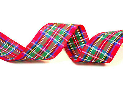 Berisfords 40mm Red Royal Stewart Tartan Ribbon. Scottish Authority Approved