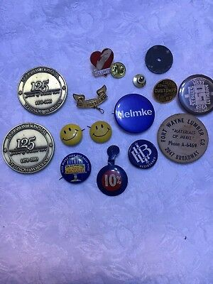 Vintage 14 Items: Buttons Pin Back, Smiley Face, Adv Nickel, Missouri Tax Token