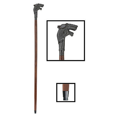 The Hound Cast Iron Handle Solid Hardwood Rubber Tip Walking Stick Cane