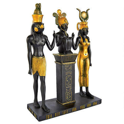 Egyptian Royal Family Isis Horus Hieroglyphic Saying Bravery & Victory Sculpture
