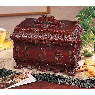 Solid Mahogany Victorian Style Antique Replica Tea Caddy w Inner Tray Wood Box