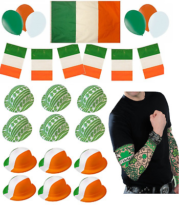 St Patricks Day Irish Party Decorations Balloons Hats Flags Bunting Pack - Set B