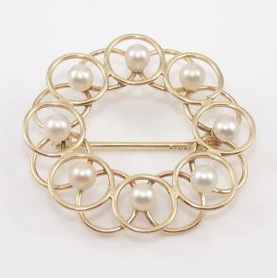 Signed 14K Yellow Gold Pearl Round Circle Pin Brooch