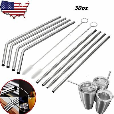 8 piece Stainless Steel Metal Reusable Cocktail Drinking Straws Cleaner Brush