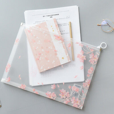 A4 File Folder Documents Pouch Zipper Pockets Paper Waterproof Cherry Blossom