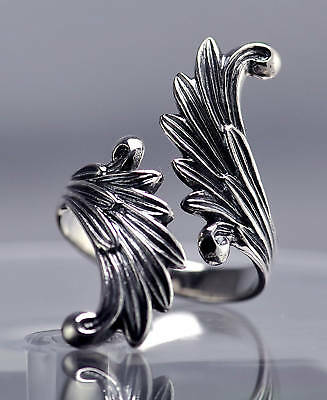 LOOK Celtic Moon Goddess Angel wings Fairy Ring Genuine Sterling silver .925 Jew
