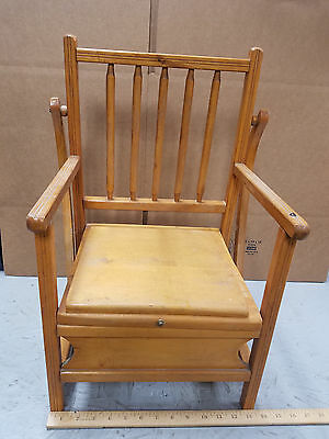 Vintage Wooden Child S Potty Chair Flip Up Seat Missing Trays