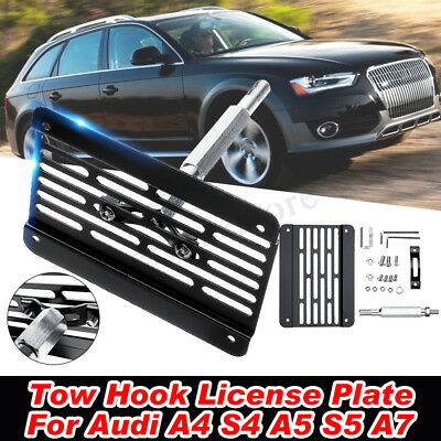 For Audi A4 S4 A5 S5 A7 Front Bumper Tow Hook License Plate Relocator Bracket