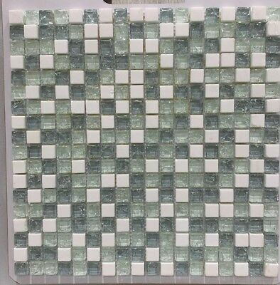 ASS-14 ARTICULOS 5/8 X 5/8 Glass Mosaic and Marble Tile Backsplash/ 15 SHEETS