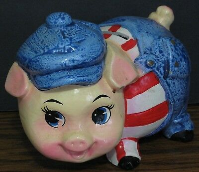 """Ceramic Piggy in Overalls Painted Coin Bank - 6"""" - 1970s / 1980s Vintage - Pig"""
