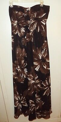 aa42f49a7f4b BLACK BROWN STRAPLESS MAXI Romper w Zebra Pattern   Sheer Overlay ...