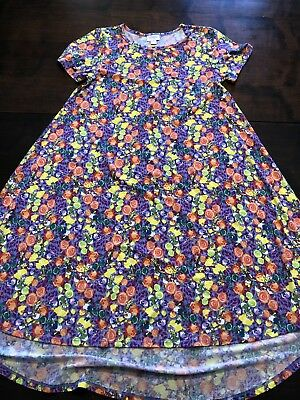 Lularoe Disney Carly XS  Purple Orange Green Yellow Daisy Duck Pre Owned
