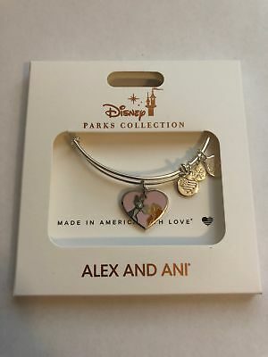 Disney Parks Lady and the Tramp Heart Charm Silver Bracelet Alex & Ani New w Box