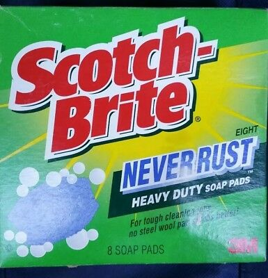 SCOTCH BRITE NEVER Rust Heavy Duty Soap Pads 1 Box Sealed 8