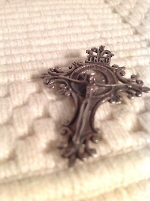 Antique Religious Vintage Solid Silver Crucifix Cross Rosary