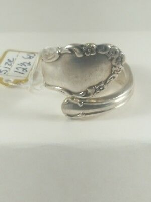 Handmade Stunning Silver Plate Spoon Ring Detailed Silverware Wide Flatware Hot