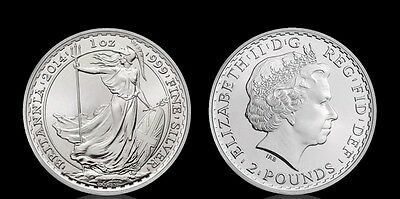 2014 Inghilterra Oncia Argento Britannia 2 Pound Moneta Ounce Oz Once Uk Gb