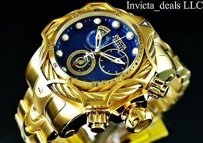 Invicta Reserve Mens 52mm Venom Bolt Swiss ETA Chronograph 18K Gold Plated Watch