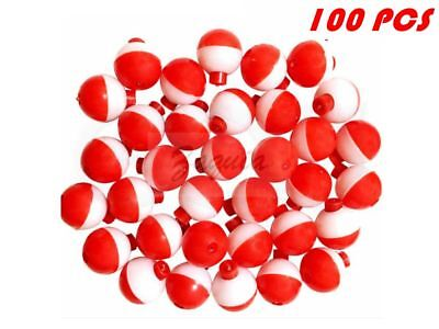 "25 50 100 200 PACK-1"" Fishing Bobbers RED & WHITE Snap-On Round Floats Wholesale"
