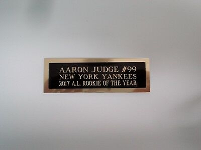 Aaron Judge Yankees Nameplate For An Autographed Baseball Card Plaque 1 X 3