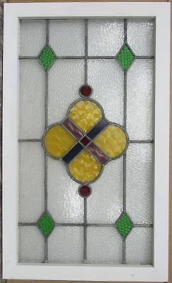"MID SIZED OLD ENGLISH LEAD STAINED GLASS WINDOW Pretty Geometric 20.5"" x 34.25"""