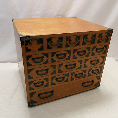 Vintage Wooden Dresser or Sewing Box Japanese Drawers Circa 1960s #866