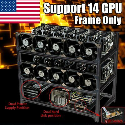 14 GPU Aluminum Open Air Mining Rig Frame Case For ETH Ethereum BTC Bitcoin USA